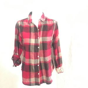 Anthro Isabella Sinclair Pink Plaid & Lace Top